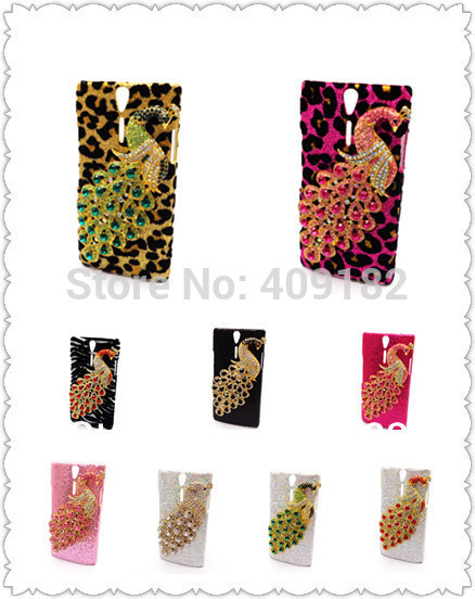 Чехол для Sony Ericsson Xperia S LT26i, милый 3D аксессуары горный хрусталь павлин зебра леопардовый узор чехол