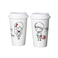 Glass ceramic cup coffee cup lid bone china cup lovers cup mug a pair of