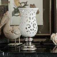 - cutout carved small hurricane lantern new classical handmade sculpture decoration vase ceramic flower