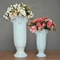 Antique lion head ceramic vase fashion decoration flower blue glaze three-color d095