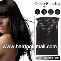''20'' 7pcs #1B natural black Cheap full head Clip In Remy Human Hair Extensions Brazilian Straight hair Free Shipping 70g