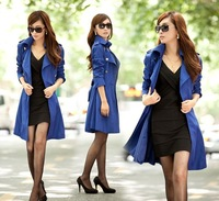Fashion Women Slim Fit Trench Double Breasted Coat Outwear Jacket Sapphire