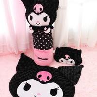 Rose velvet little demon of kuromi 4 derlook slippers pillow mats tissue box