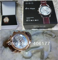 3pcs/lot, mp3,u-disk, gift watch with  leather, 4GB inside, elegant and fashionable outlooking, free shipment