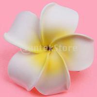 Free Shipping Women Girls Plumeria Flower Foam Hair Clip - White