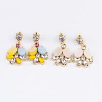 2013 New arrival Gold earrings 18k Multicolour Shell Flower Alloy Earring Lovely Bling free shipping Min.order is $10(mix order)