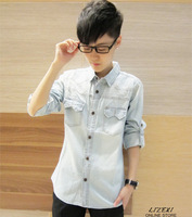 2013 autumn personalized denim shirt slim unique patchwork denim long-sleeve shirt