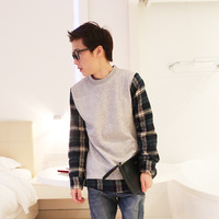 Fashion plaid patchwork sweatshirt brief personality male casual sweatshirt all-match