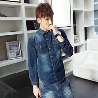 Denim shirt vintage wash water blue shirt