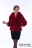 Free Shipping:red Real natural rabbit fur coats winter clothes women female ladies' jacket coat dress with fur/autumn shortcoat