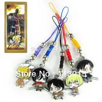 5 pcs=1 set Shingeki no Kyojin Attack on Titan keychains cell phone charms pendants Eren Mikasa Armin Rivaille  free shipping