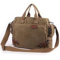 Men canvas bag fashion classic vintage casual shoulder bag commercial briefcase laptop bag
