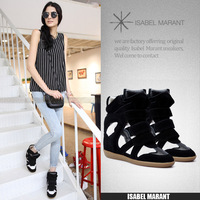 Isabel marant genuine leather black white color block decoration elevator shoes for women
