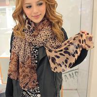 DropShipping Sytlish Women's Long Soft Wrap Lady Shawl Silk Leopard Chiffon Scarf Scarves CY0380 FreeShipping