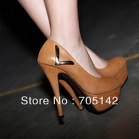 Free shipping! Fashion 2013 elegant women/lady party shoes, soft simple V Metal Decoration thick heel shoes in spring&autumn
