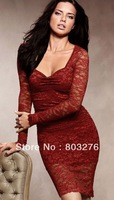 Sexy Women Long Sleeves Lace Bodycon Dress Open Back Argenteous LC2633
