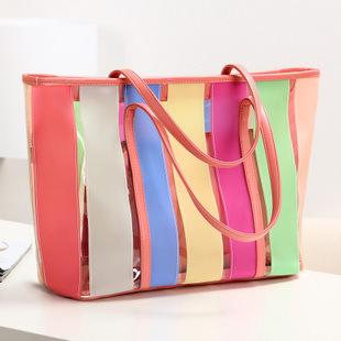 Summer new arrival 2013 color bag color block beach bag jelly bag  women's handbag shoulder bag