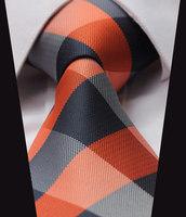 "TC4029N8 Orange Navy Blue  Check  100% Silk 3.4"" New Jacquard Woven Classic Man's Tie Necktie"