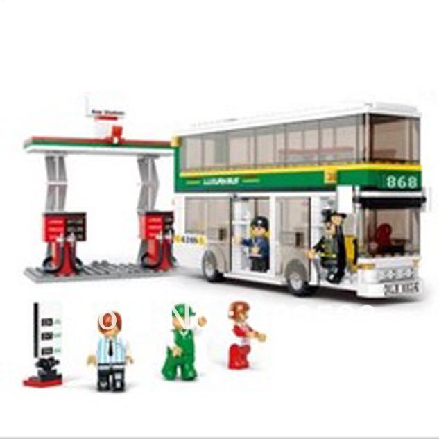 Best Selling! Building Block Double City Bus Education-assembling toys for kids +Free Shipping(China (Mainland))