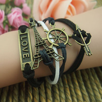DIY Retro Bronze Eiffel Tower Love Arrow Sailor Charms Wax Rope Suede Wrap Bracelet   Factory Wholesale price Free Shipping