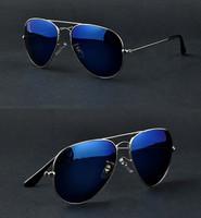 GL Full Blue Mirrored Aviator Sunglasses Dark Tint Lens Silver Frame UV400 BNWT