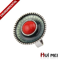 Hot New Arrival Fashion Women Silver Plated Round Red Stone Charms Statement  Finger Rings Jewelry
