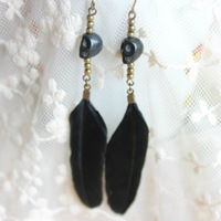 Fashion new arrival skull punk personality women's long design feather drop earring