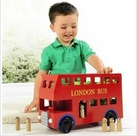 Wooden child toy car boy car model puzzle bus red wool double layer bus