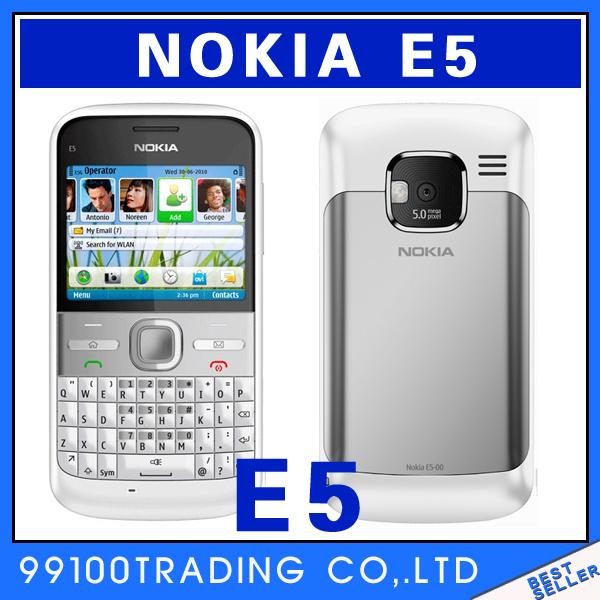 Original unlocked Nokia E5 GPS WIFI Bluetooth JAVA 5MP QWERTY Keyboard mobile Phone Good quality Refurbished Free Shipping(China (Mainland))