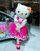 Adult Size Hello Kitty Cat Mascot Costume Character Halloween Costumes Fancy Dress Suit Free Shipping