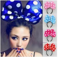 Gift hair accessory flash bow tie headband hair accessory luminous big bow headband hairpin headband