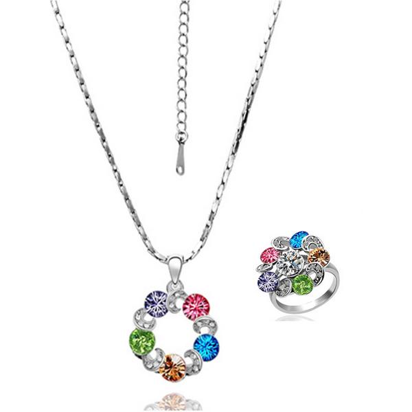 wholesale 18K White Gold plated fashion jewelry Austria Crystal,rhinestone,CZ diamond,Nickle Free necklace&ring Set KS017(China (Mainland))
