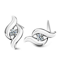 sale and free shipping 100% pure 925 sterling silver platinum crystal stud earrings fine jewelry  HSR029