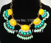 2013 New Design Bronze Resin 7colors Blue Multicolor Rhinestone Big Choker Bib Chunky Statement Necklaces Jewelry for women