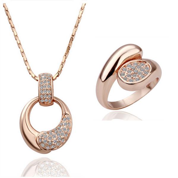 wholesale 18K Rose Gold plated fashion jewelry Austria Crystal,rhinestone,CZ diamond,Nickle Free necklace&ring Set KS126(China (Mainland))