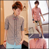 2013 men's summer slim three quarter sleeve shirt Men fluid short-sleeve shirt half sleeve shirt