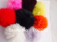 50pcs / lot Genuine Rabbit Fur Ball mixed  color Adornment 80mm Free Shipping
