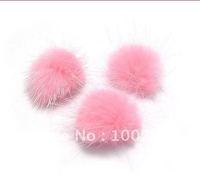 pink  genuine mink   fur ball 25mm