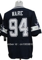 Free Shipping 2013 Elite American Football Jerseys #94 DeMarcus Ware Blue Color Shorts Embroidery Sewing logos Size M-XXXL