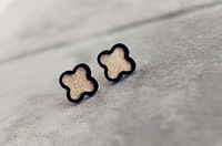 2013 Fashion Titanium Steel Fastcolours Golden Four Leaf Clover Earrings Women Jewelry Free Shipping