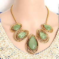 New 2013 Vintage Gorgeous Big Drop Gems Brand Necklaces & Pendants Fashion Jewelry Items Statement Jewelery Women N663