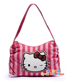Free shipping, Hot sale small shoulder bag Hello kitty mini handbag for children Canvas cartoon stripes Little girl totes bags