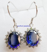 Sapphire drop earring Free shipping Natural sapphire 925 silver plated 18k white gold 1pc/jewelry box,leaves style,#13083005