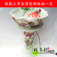 Ceramic hand painting turtle tank feng shui fish tank belt water spray at home