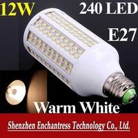 FreeShipping Energy saving 200V-230V white/warm white LED Bulb lamp E27 12W 240 PCS 3528 LED bulb 1200LM corn light bulb