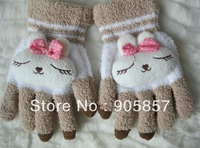 100pairs Free Shipping For iphone ipad Touch Screen Gloves Winter Female Rabbit Plush Lovely Gloves