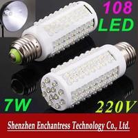 FreeShipping Energy saving 15PCS/LOT 7W led lamp E27 220V 6000-6500K Cold White Light 108 Led corn Bulb lamp led spotlight