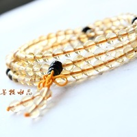 Natural yellow crystal beads bracelet lucky 108 fozhu