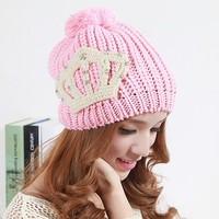 Free Shipping Retail 2013 New Design Handmade Shining Pearl Crown Pattern Women Winter Hats Crochet Girls Caps Female beanies