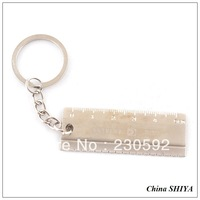 Wholesale (12 piece/lot)Novelty Metal Ruler Keychain Keyring Tool Key Chain for Sale Promotional Gift